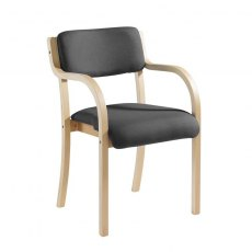 Nesta Wooden Frame Conference Chair With Arms - Grey
