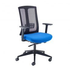 Spiris Mesh Back Swivel Office Chair With Arms - Black & Blue