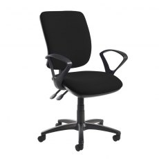 Guli 550 Fabric Swivel Office Chair Fixed Arms - Black