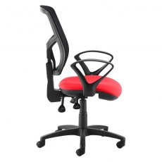 Katia 340 Fixed Arms Swivel Office Chair - Black and Red