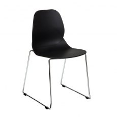 Anwen Star Sled Leg Cafe and Dining Chair - Black