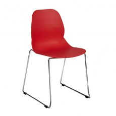 Anwen Star Sled Leg Cafe and Dining Chair - Red