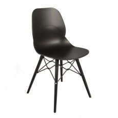 Anwen Strut Black Legs Cafe and Dining Chair - Black
