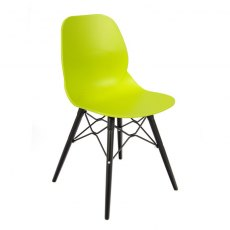 Anwen Strut Black Legs Cafe and Dining Chair - Lime Green