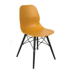 Anwen Strut Black Legs Cafe and Dining Chair - Orange