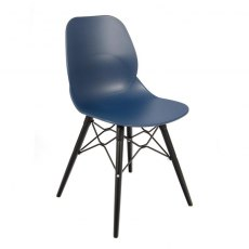 Anwen Strut Black Legs Cafe and Dining Chair - Dark Blue