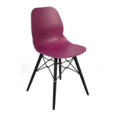 Anwen Strut Black Legs Cafe and Dining Chair - Plum
