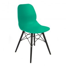 Anwen Strut Black Legs Cafe and Dining Chair - Turquoise