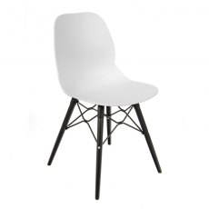 Anwen Strut Black Legs Cafe and Dining Chair - White