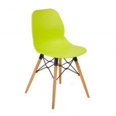 Anwen Gold Wooden Legs Cafe and Dining Chair - Lime Green