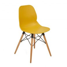 Anwen Gold Wooden Legs Cafe and Dining Chair - Orange