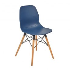 Anwen Gold Wooden Legs Cafe and Dining Chair - Dark Blue