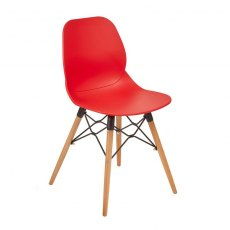 Anwen Gold Wooden Legs Cafe and Dining Chair - Red