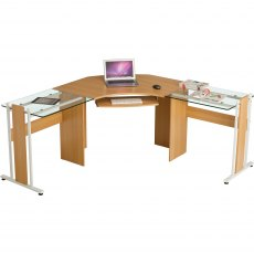 Frigate Large Corner Desk With Glass Desktop - Oak