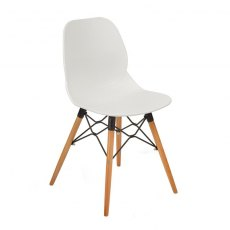 Anwen Gold Wooden Legs Cafe and Dining Chair - White