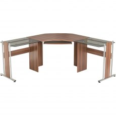 Frigate Large Corner Desk With Glass Desktop - Dark Walnut