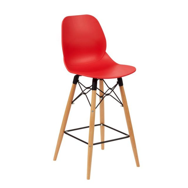 Home In Amara Gold Wooden Legs Bar Stool - Red