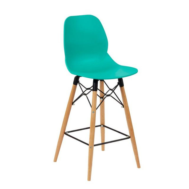 Home In Amara Gold Wooden Legs Bar Stool - Turquoise