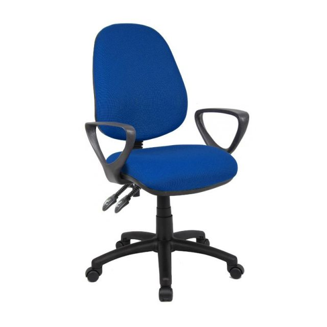 Home In Altiro 470 Fabric Swivel Office Chair With Fixed Arms - Blue