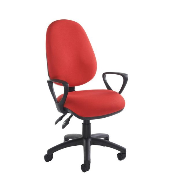 Home In Altiro 470 Fabric Swivel Office Chair With Fixed Arms - Red