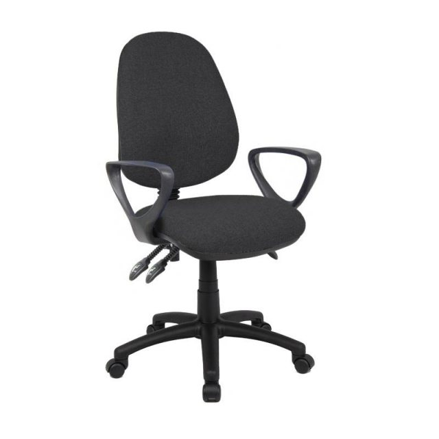 Home In Altiro 670 Fabric Swivel Task Office Fixed Arms Chair - Charcoal