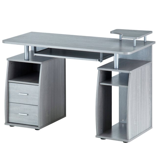 Piranha Furniture Tetra Desk With Cupboard & Drawers - Sliver Grey