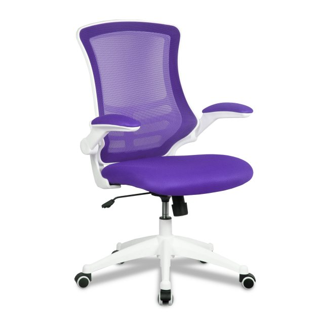 Home In Meir Mesh Back Office Swivel Chair - Purple on White