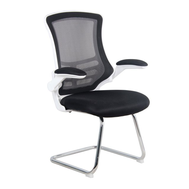 Home In Meir Mesh Back Visitors Chair - Black on White