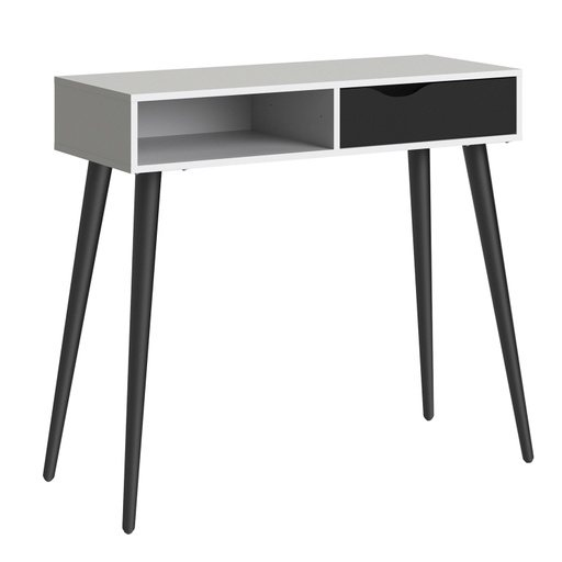 Home In Zala Desk with Drawer and Shelf  - White & Black