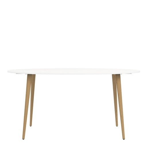 Home In Zala Dining Table Oval - White and Oak