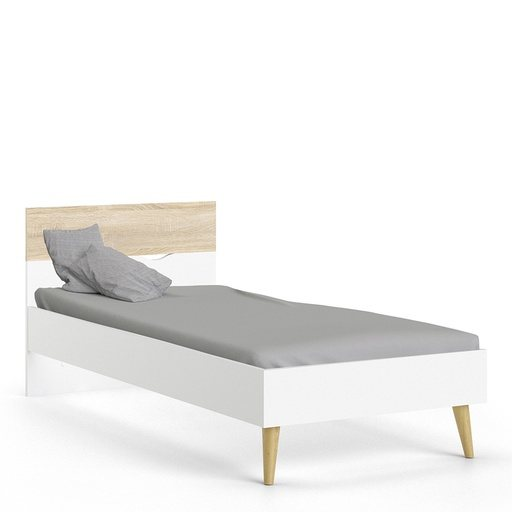 Home In Zala Single Bed - White and Oak