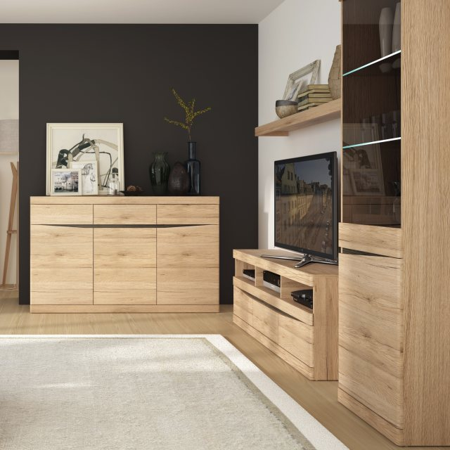 Home In Wanaka TV Unit with 3 Open Slots - Oak