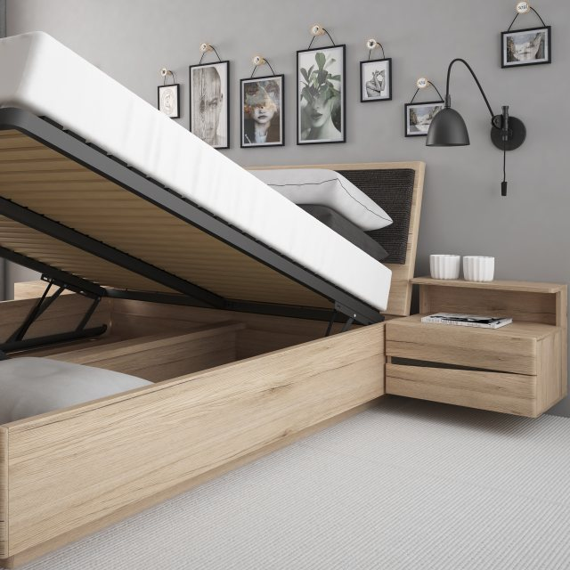 Home In Wanaka King Size Lift-Up Bed - Oak