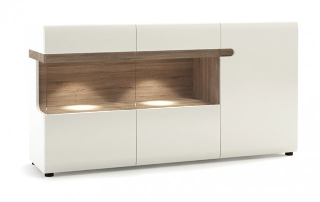Home In Chelsea Glazed Display Sideboard - White