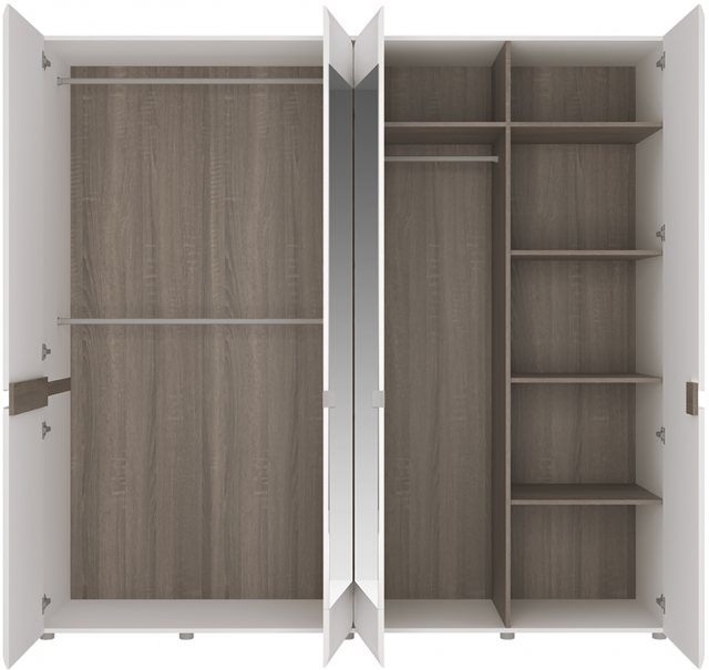 Home In Chelsea 4 Door Mirrored Wardrobe - White