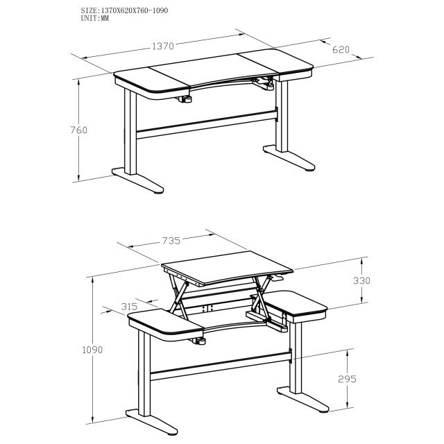 Piranha Furniture Grenadier Height Adjustable Desk - Graphite Black