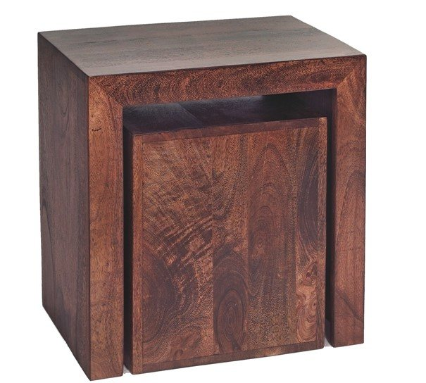 Indian Hub Toko Dark Mango Cubed Nest Of 2 Tables
