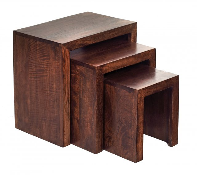 Home In Toko Nest Of 3 Tables - Dark Mango Wood