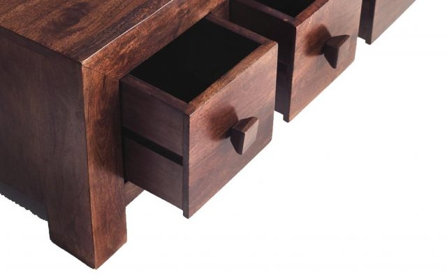 Indian Hub Toko Dark Mango 8 Drawer Coffee Table