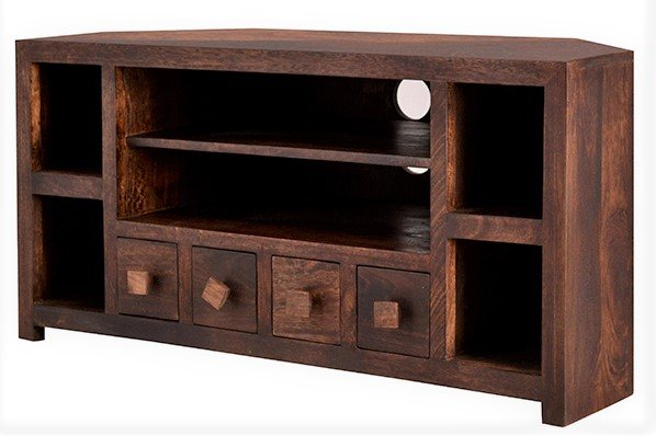 watch 92030 fa60a Toko Dark Mango Corner TV Unit with Drwers