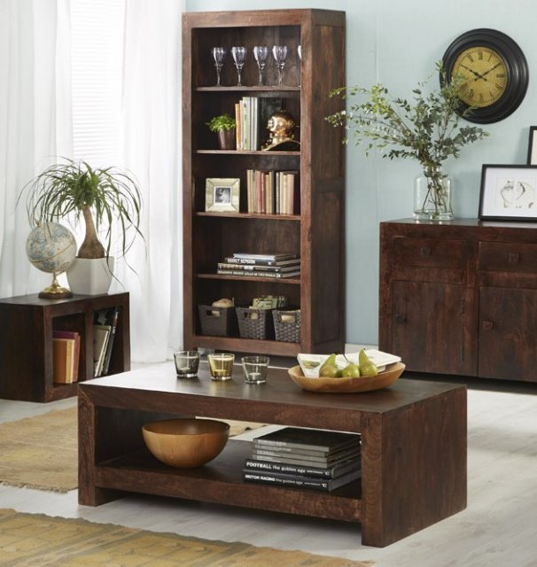 Home In Toko Large Open Bookcase - Dark Mango Wood