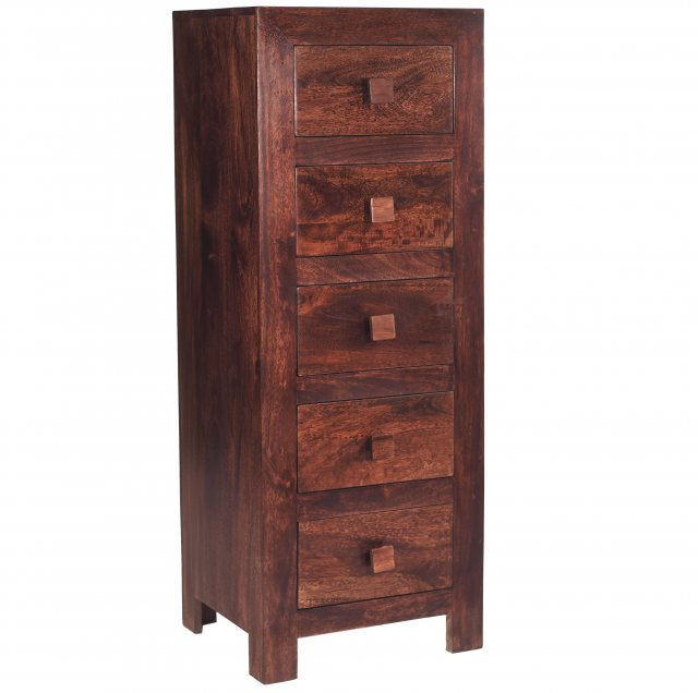Home In Toko 5 Drawer Chest - Dark Mango Wood