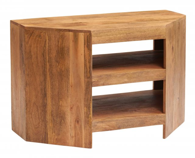 Home In Toko Corner TV Unit - Light Mango Wood