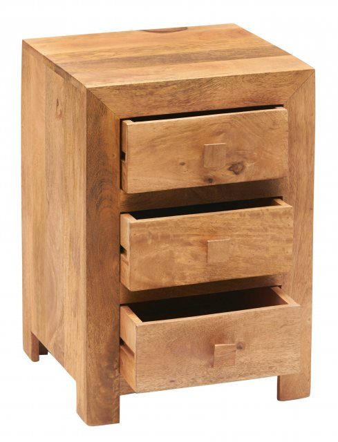 Indian Hub Toko Light Mango 3 Drawer Bedside Table
