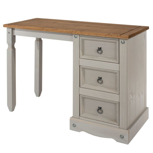 Home In Tolland Single Pedestal Dressing Table - Grey