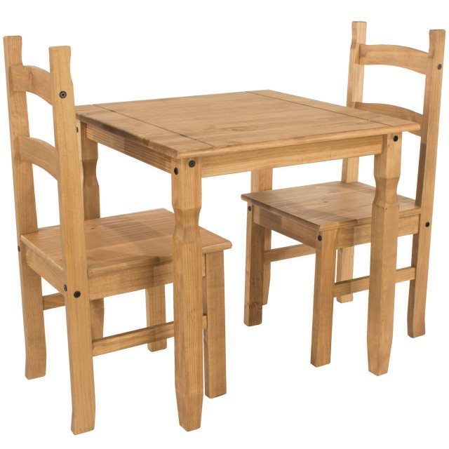 Home In Tolland Square Dining Table & 2 Chair Set - Pine