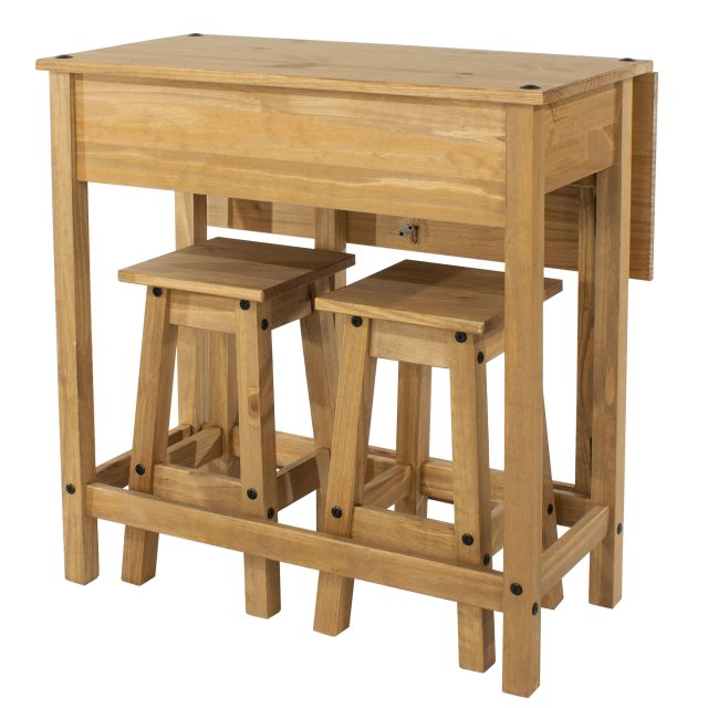 Home In Tolland Breakfast Drop-leaf Table & 2 Stools Set - Pine