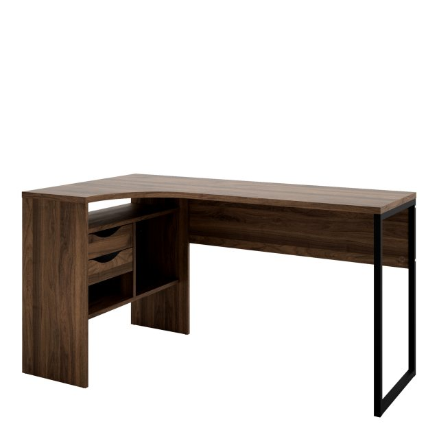 Home In Tarm 2 Drawers Corner Desk - Walnut
