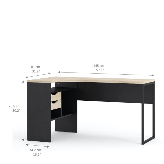 Home In Tarm 2 Drawers Corner Desk
