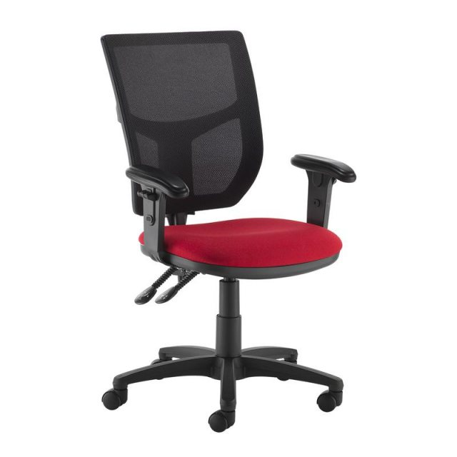Home In Jory 880 Mesh Back Office Chair Adjustable Arms - Black and Red